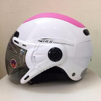 Mũ Bảo Hiểm GRS A102K Cao Cấp Kính Momo Trắng Phối Hồng
