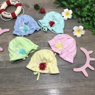 Mũ tai bèo sơ sinh buộc dây đính hoa cho bé gái