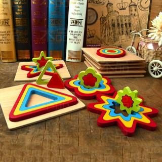 ohmg* Wooden Nesting Geometric Puzzle Blocks Educational Toys for Kids Baby Toddler