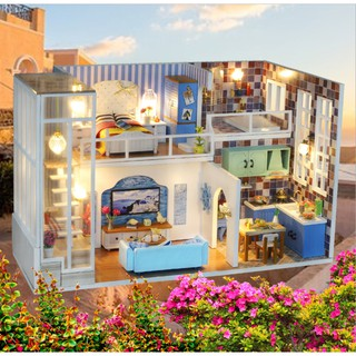Mô hình nhà búp bê gỗ – Biệt thự của Tiểu Mễ – Mi Yu villa (có mica che bụi + tặng keo sillicone)