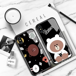 OPPO F11 F15 F3 F5 Plus F7 F9 Pro F5 Youth A7X A77 Phone Case Cute Anime Brown Bear Cartoon Casing for Glossy Tempered Glass Shockproof Cases Back Hard Cover Ốp lưng điện thoại