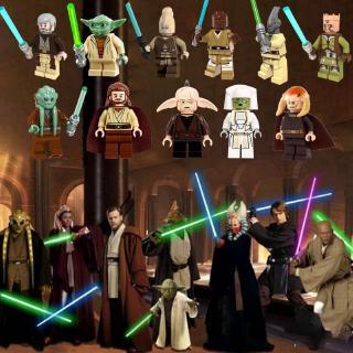 Compatible With Lego Minifigures Star Wars Starwars Master Yoda Obi-Wan Kenobi Dooku Building Blocks Toys For Children