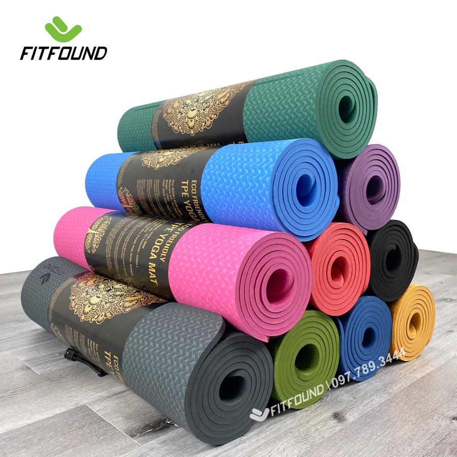 [Mã SKAMA07 giảm 8% TỐI ĐA 50K đơn250K] Thảm Tập Yoga Gym Pilates Thể Dục TPE 6 , 8mm In Định Tuyến Cao cấp Fitfound
