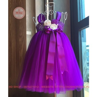 Váy công chúa cho bé ❤️FREESHIP❤️ Váy tím hoa cuốn cho bé