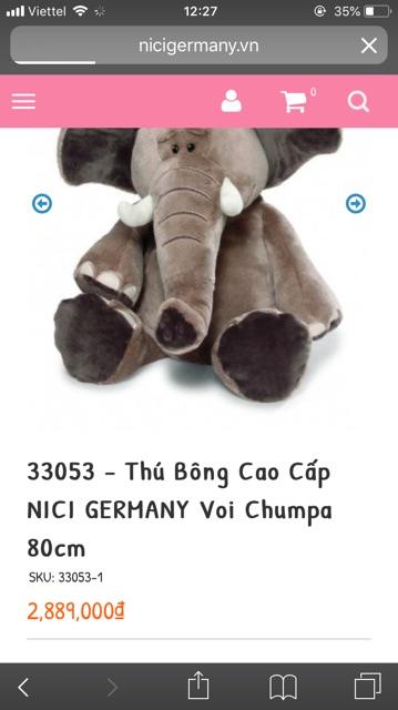 Thú bông cao cấp NICI GERMANI Voi Chumpa 80cm