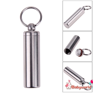 Survival Waterproof Pills Box Container Aluminum Medicine Bottle Keychain