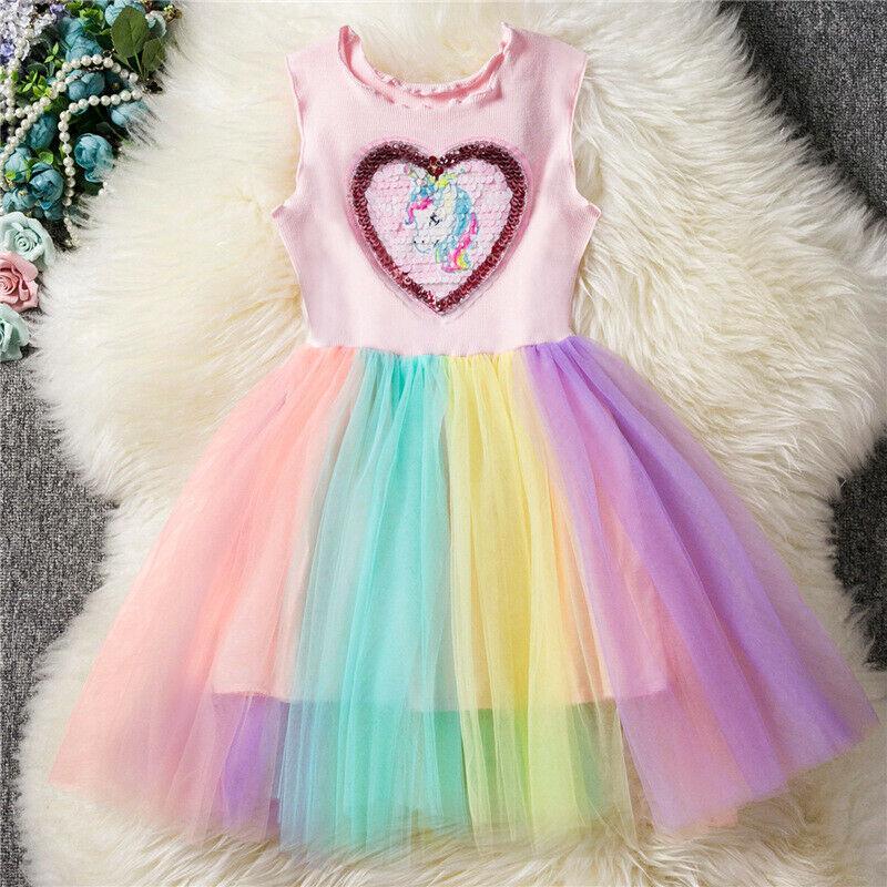 Bộ váy áo thun gân sừng kì lân cho bé gái