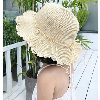 Mũ cói vành rộng đính ngọc cho bé từ 3,5 tuổi đến 8 tuổi