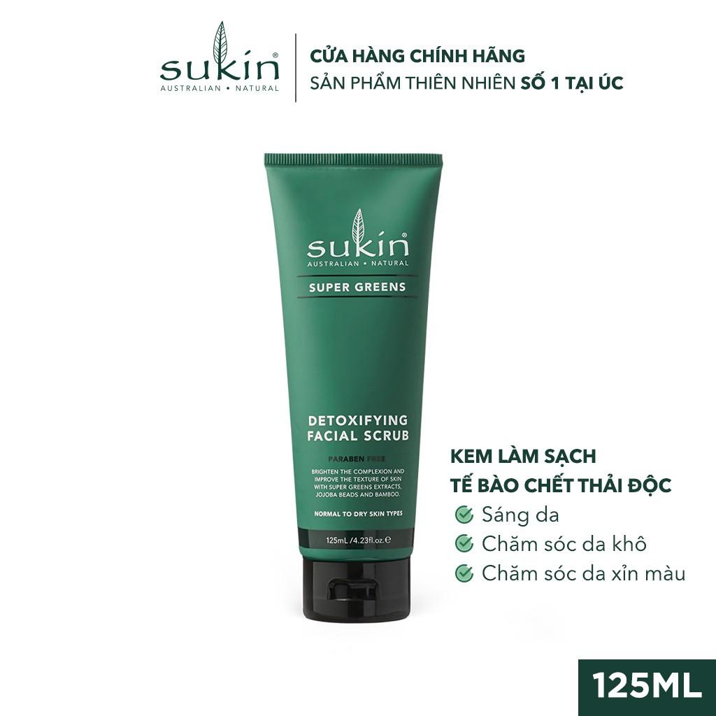 Kem Làm Sạch Tế Bào Chết Sáng Da Sukin Super Greens Detoxifying Facial Scrub 125ml