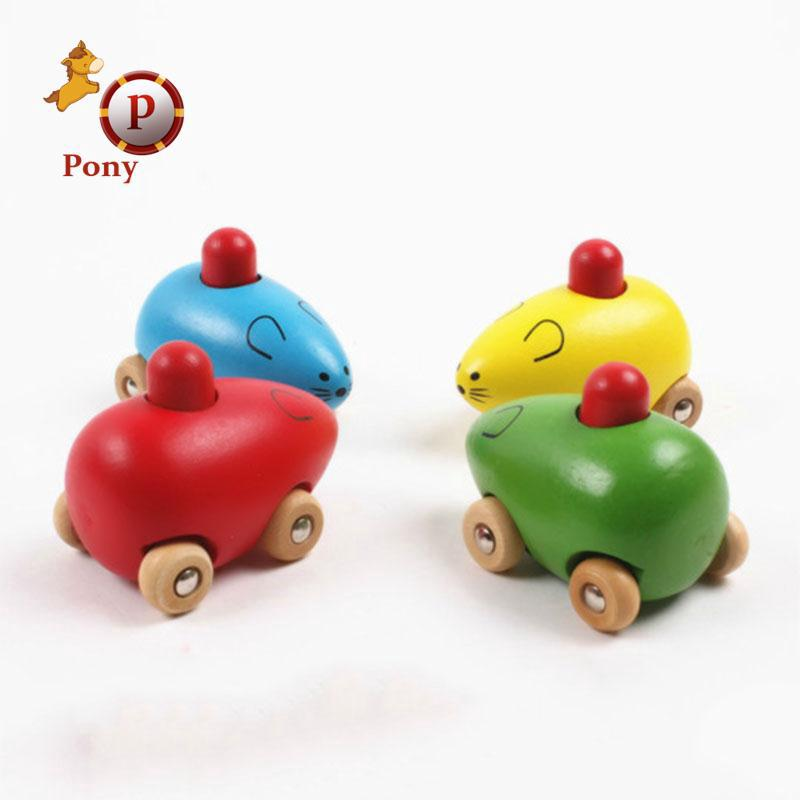 Wooden Car Mouse Rattle children Toys BB Sound Baby Developmental Recognition