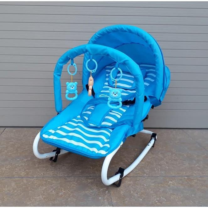 [NHẬP TOY30K] Ghế rung Cao cấp cho bé (Có bảo hiểm + đồ chơi + mái che + điều chỉnh nằm ngồi)