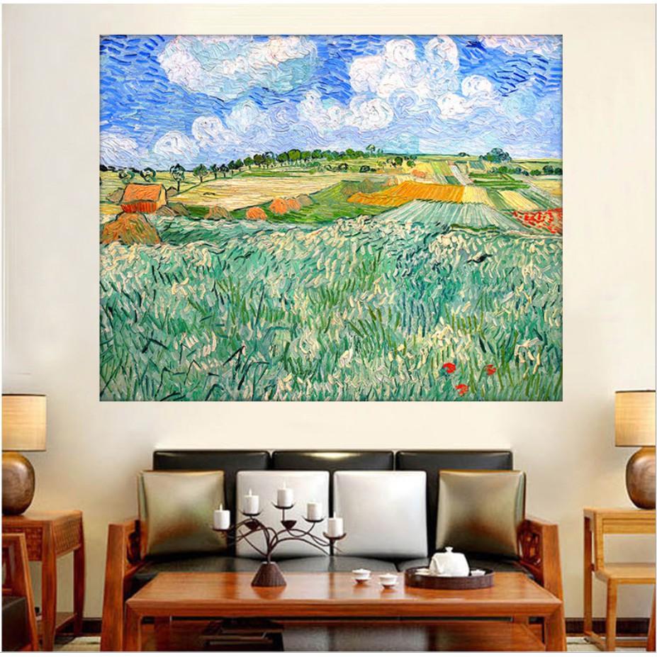 Tranh cườm mẫu Cánh đồng xanh của Van Gogh cỡ 50 x 40cm