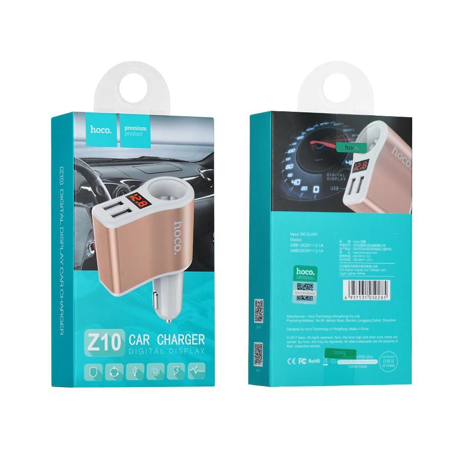 CODHOCO Z10 Car Charger Digital Display Dual USB Charging Lighter Slot