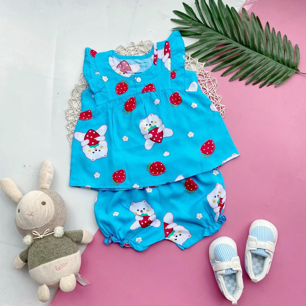 Đồ bộ mặc nhà mẫu tay nhí nút ngực vải tôn (tole - lanh) mềm, mịn, mát cho bé gái 4-9kg (hình thật)