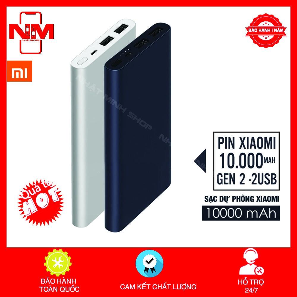 Pin dự phòng Xiaomi Gen2 10000mAh  (Gen 2 New - màu bạc)