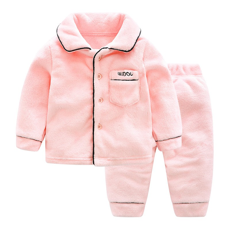 Baby pyjamas children's coral velvet home wear girl boy thickened autumn and winter flange two-piece set