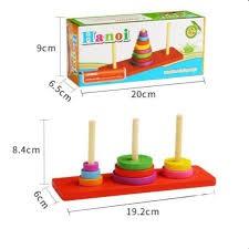 Đồ chơi gỗ Tháp Hà Nội giúp bé nhận biết màu sắc phát triển trí não