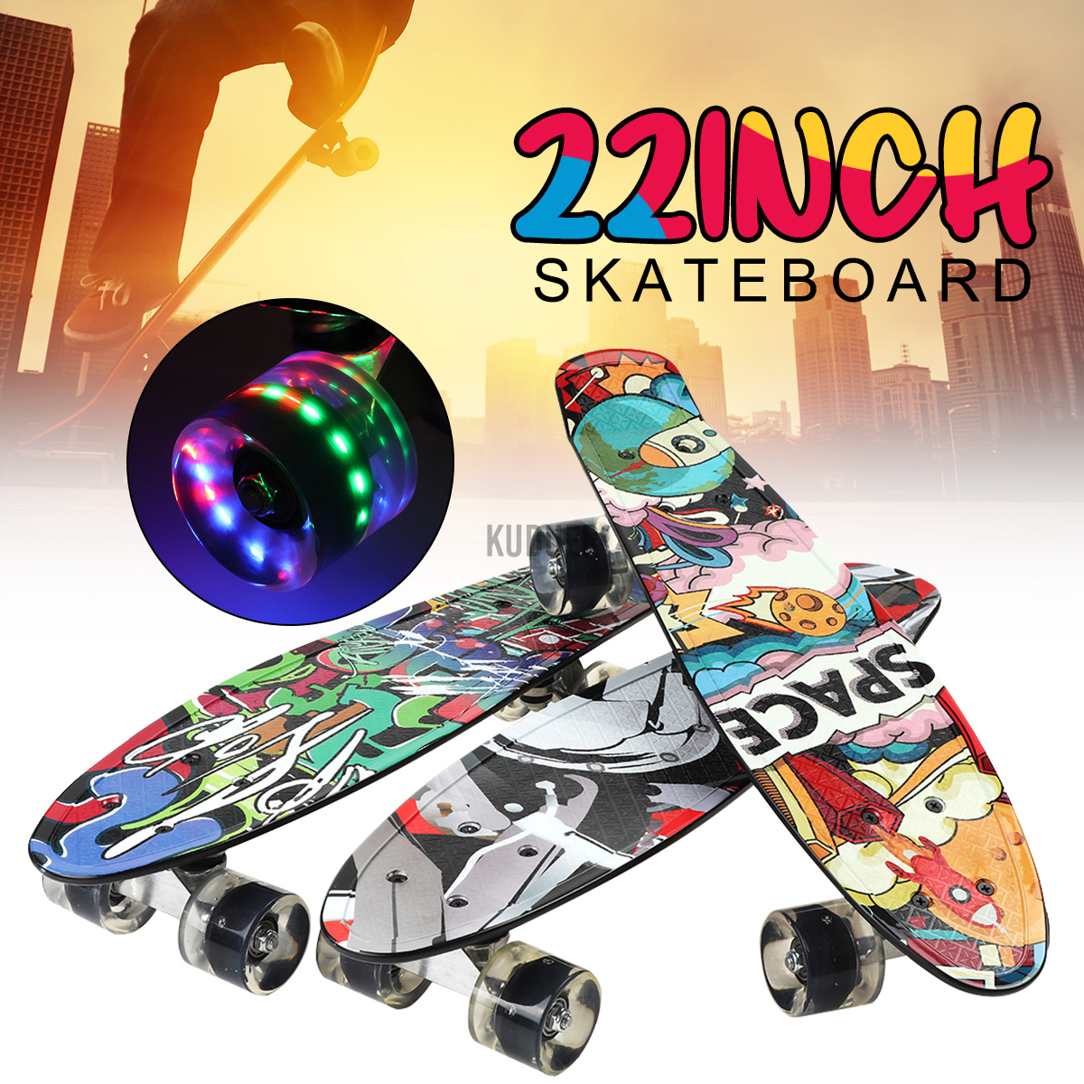 22Inch Unisex Youth Wheel Portable Skateboard outdoor play