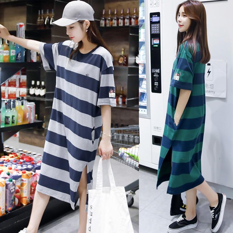 Đầm form rộng Dongdaemun Hàn Quốc sọc ngang freesize