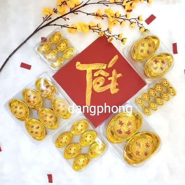 Hộp 6 thỏi vàng 8cm,10cm Trang Trí Cành Vàng Lá Ngọc trang trí tết