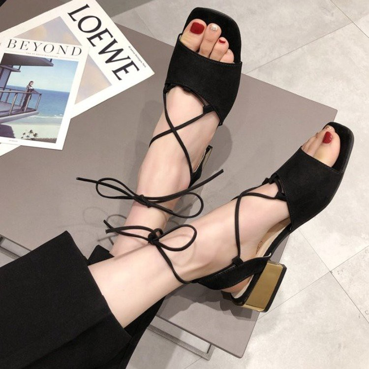 Sandals female wild student cross straps thick with open toe Roman shoes