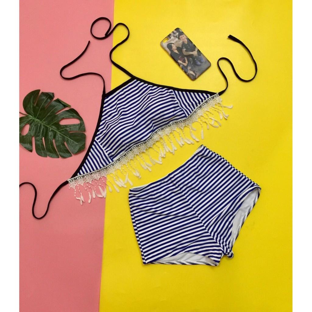 Bikini, Đồ bơi Đi Biển Hai Mảnh Yếm Sọc Xanh Tua Rua Quần Đùi KG008300 ODERI