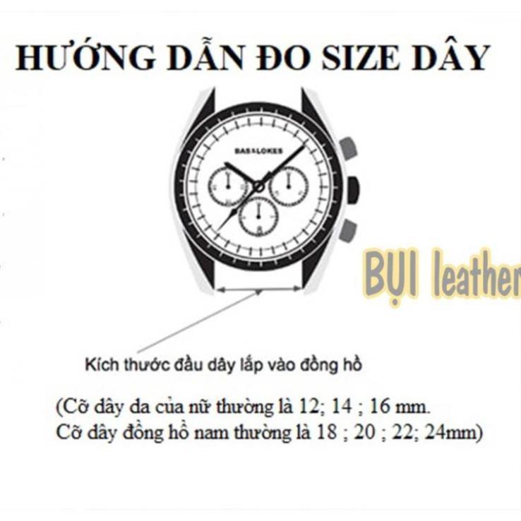 Dây đồng hồ nam da cá sấu đôt tre cao cấp D103-Bụi Leather size 18mm, 20mm, 22mm, 24mm