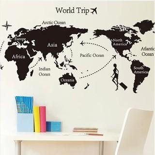 Decal dán tường AY9134/JM7225 bản đồ thế giới