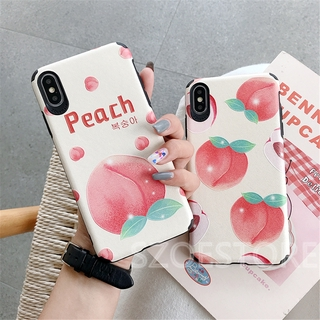 Fresh Fruit Peach Skin-Friendly Silk Pattern Soft Phone Case Cover for iPhone 11 Pro Max X XS XR XSMax 8 7 6 6s Plus SE 2020
