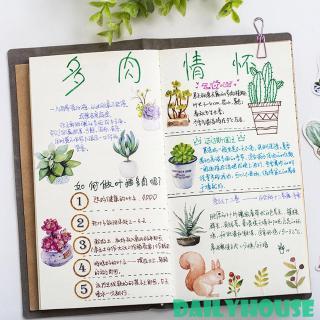 DH♒ 50pcs Creative Diary Journal DIY Scrapbook Mini Paper Plants Sticker Flakes