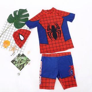 Bộ áo thun quần bơi nón bơi người nhện spiderman bé trai