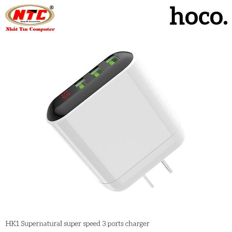 Cốc sạc nhanh 3 cổng USB Hoco HK1 Supernatural điện áp max 5A, có đèn led báo dòng tải - Hãng phân phối chính thức