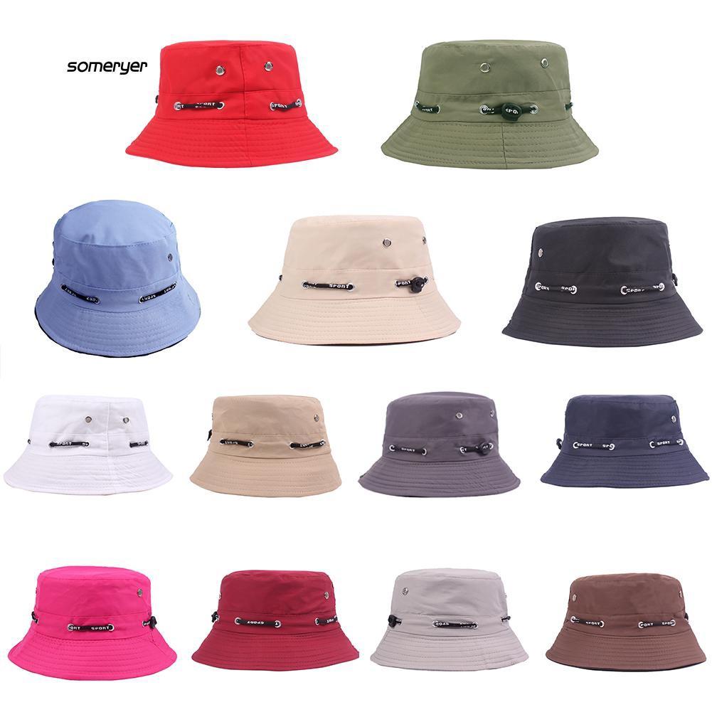 SMYR_Solid Color Bucket Hat Unisex Outdoor Travel Fishing Men Women Casual Sun Cap
