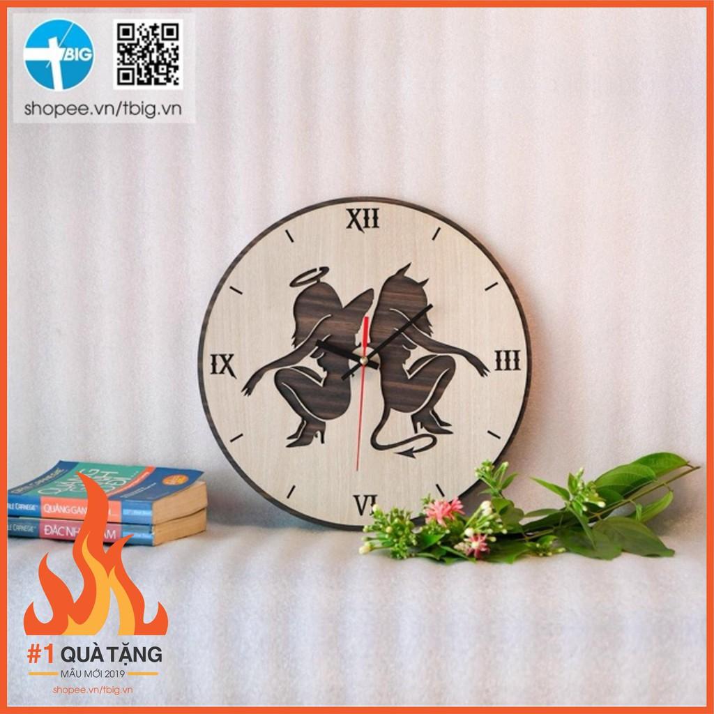 [ #Top1 thịnh hành] Đồng hồ treo tường Song Tử gỗ phủ veneer 2 lớp hợp mệnh Thuỷ