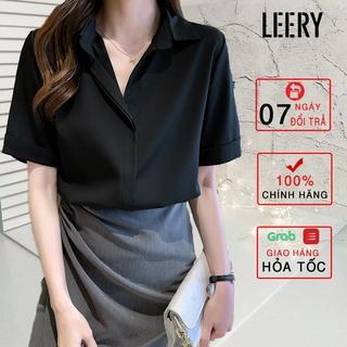 Áo sơ mi nữ đẹp tay ngắn công sở màu Đen Trắng Xanh Be kiểu Hàn Quốc form rộng chất lụa cao cấp LEERY SM-02 thumbnail