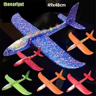 theearlyut LED EPP foam hand throw airplane outdoor launch glider plane kids gift toy