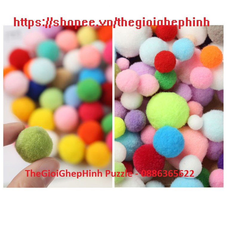 Tổng hợp các cỡ Pompom – Tặng kẹp gắp nhựa khi mua từ 3 size bất kỳ