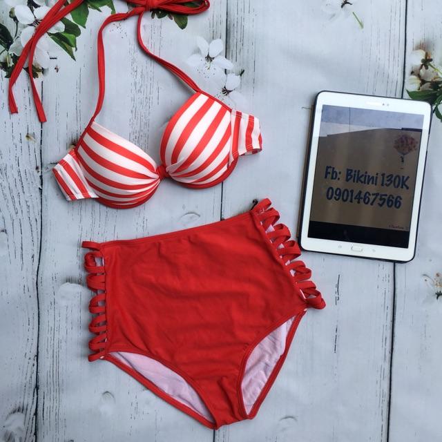 Bikini cạp cao sọc đỏ - 3357851 , 751241044 , 322_751241044 , 145000 , Bikini-cap-cao-soc-do-322_751241044 , shopee.vn , Bikini cạp cao sọc đỏ