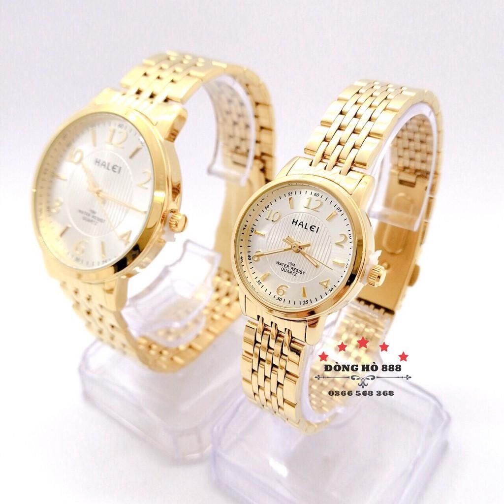 Đồng hồ đôi Halei mặt tròn dây kim loại vàng HL484 _ Tặng 1 vòng tỳ hưu _ Có video sản phẩm.