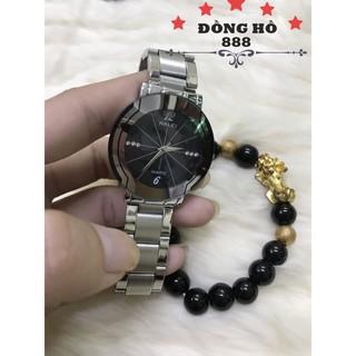 Đồng hồ nam HALEI dây kim loại TẶNG 1 vòng - BL trắng mặt đen