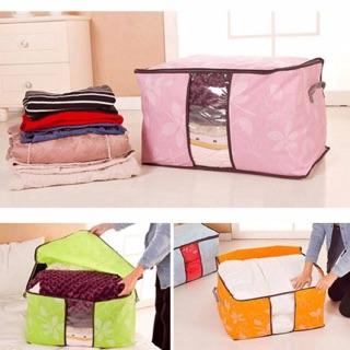 Túi vải đựng quần áo chăn màn họa tiết hoa văn (size lớn