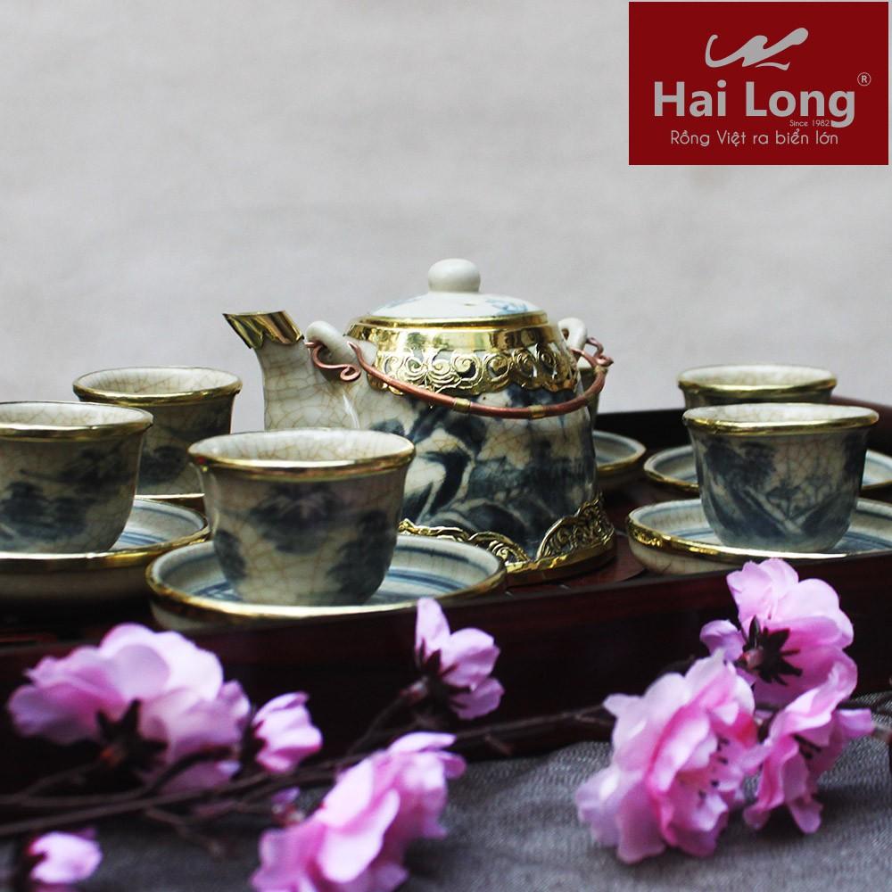 Bộ ấm chén pha trà vuốt giả cổ men rạn bọc đồng S3 - Gốm sứ Hải Long Bát Tràng