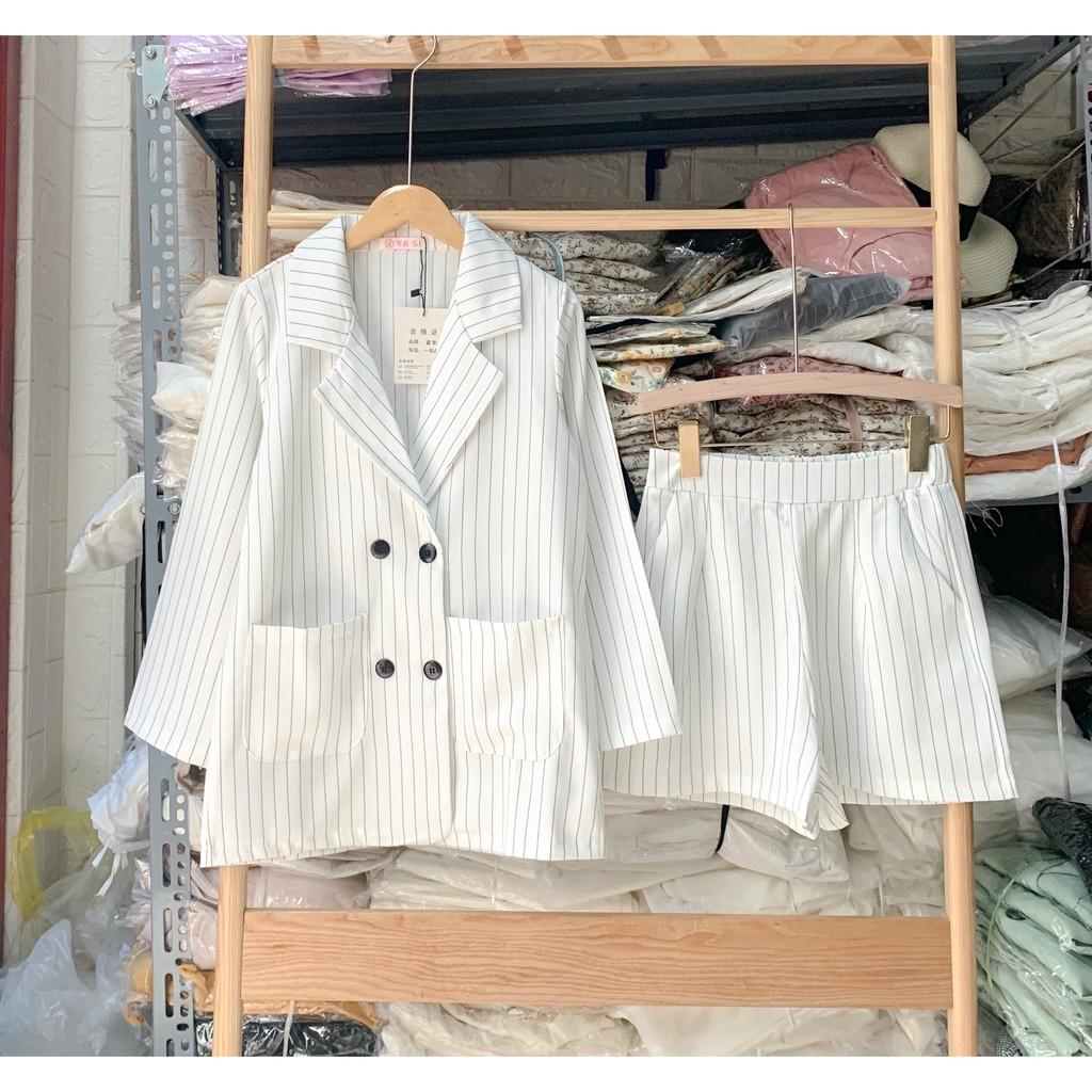 [Ảnh thật/Video] Set vest/áo Blazer + chân váy kẻ dọc 2 màu, đen và trắng - Set blazer nữ, Giá Sỉ - Dorita Boutique