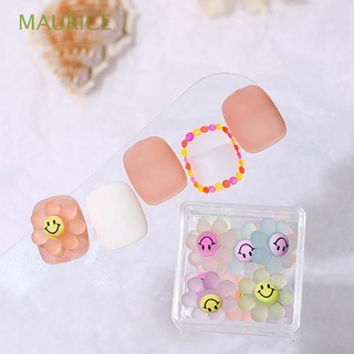 MAURICE Rainbow Color Smiley Face Nail Art Decoration Cute DIY Nail Accessories 3D Nail Jewelry Three-dimensional Sun Flower Cartoon Translucent Manicure/Multicolor