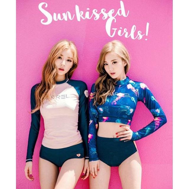 (Có sẵn, clip) Đồ Bơi Bikini Dài Tay Phong Cách Hàn Quốc, Bộ bơi Hồng, Xanh Quảng Châu ko phải hàng xưởng Vn may lại