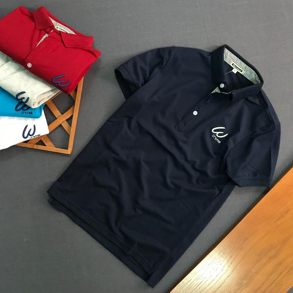 Áo thun nam logo W phông trơn thiết kế cao cấp - Áo ngắn tay có cổ Áo ngắn tay có cổ