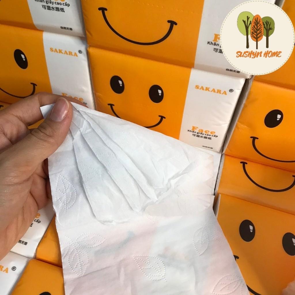 [Mã 267FMCGSALE giảm 8% đơn 500K] Giấy ăn SAKARA 1 tờ 4 lớp mềm dai không bui giấy an toàn cho sức khoẻ