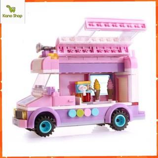 Mô hình lắp ghép kiểu Lego Xe Bán Kem màu hồng chi tiết
