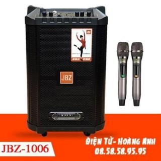 (Tặng chân kẹp điện thoại) Loa kéo Jbz 1006 ..BASS 2.5 tấc 350W . tặng kèm 2 micro tặng kèm dây tín hiêu