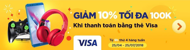 Giảm 10% tối đa 100k cho thẻ Visa mỗi thứ 4